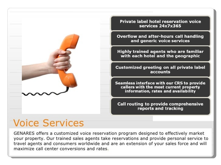 Voice Services GENARES offers a customized voice reservation program designed to effectively market your property. Our tra...