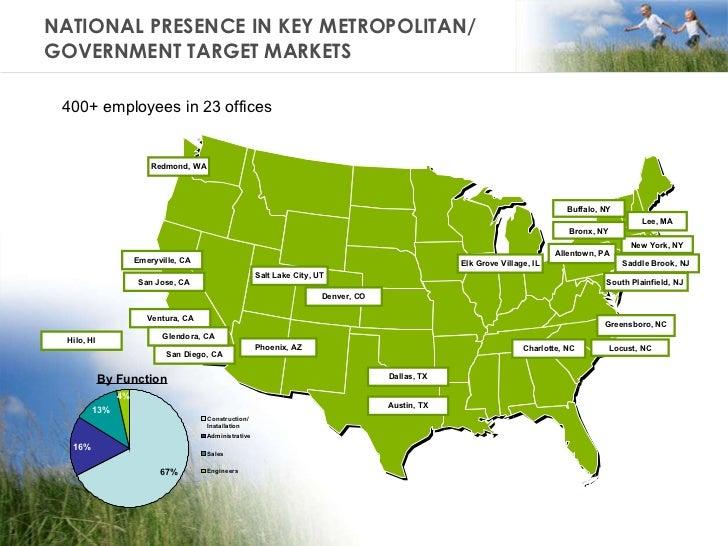NATIONAL PRESENCE IN KEY METROPOLITAN/  GOVERNMENT TARGET MARKETS Allentown, PA San Jose, CA Lee, MA Greensboro, NC Charlo...