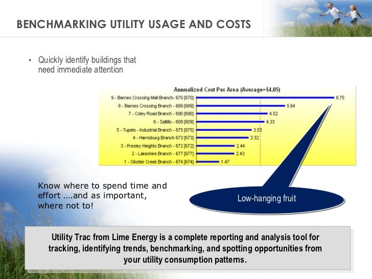 BENCHMARKING UTILITY USAGE AND COSTS  <ul><li>Quickly identify buildings that need immediate attention </li></ul>Know wher...