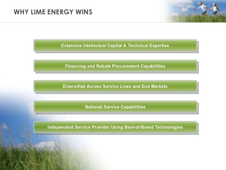 WHY LIME ENERGY WINS Extensive Intellectual Capital & Technical Expertise Independent Service Provider Using Best-of-Breed...