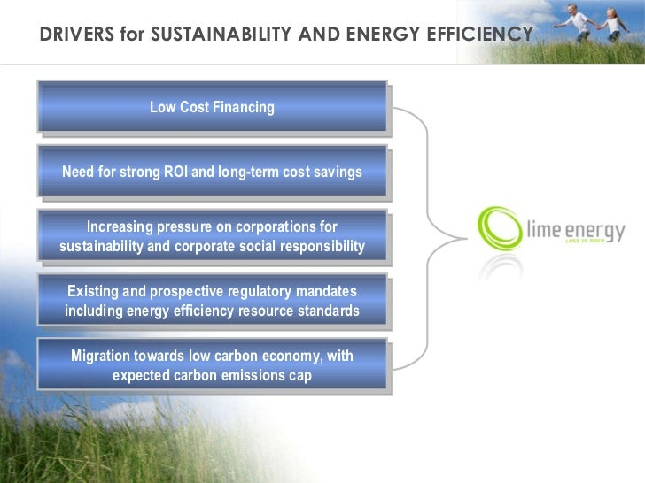 DRIVERS for SUSTAINABILITY AND ENERGY EFFICIENCY Low Cost Financing Need for strong ROI and long-term cost savings Increas...