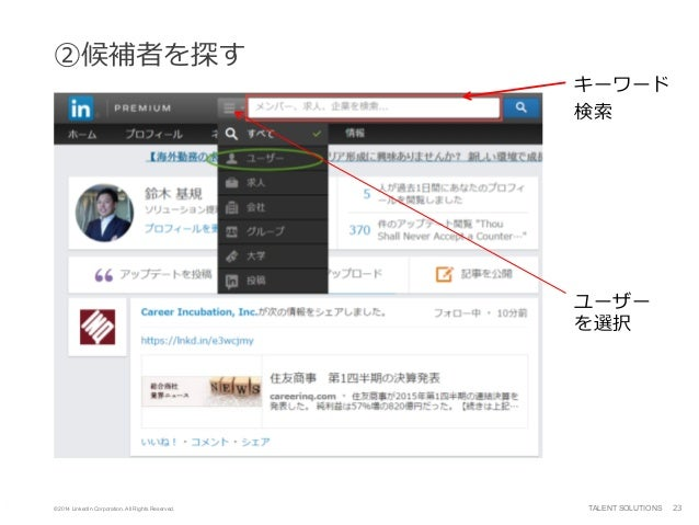 ©2014 LinkedIn Corporation. All Rights Reserved. TALENT SOLUTIONS ②候補者を探す 23 ユーザー を選択 キーワード 検索