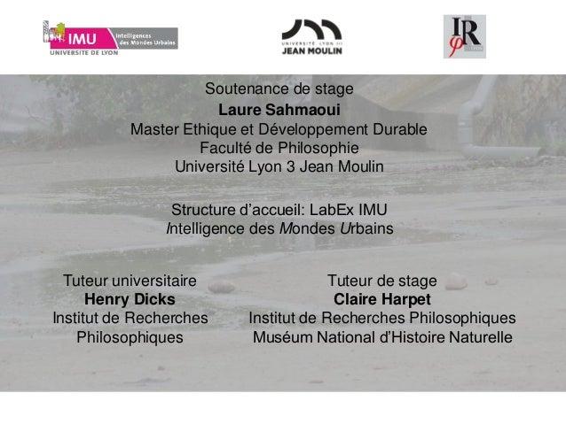 Soutenance de stage Structure d'accueil: LabEx IMU Intelligence des Mondes Urbains Tuteur universitaire Henry Dicks Instit...