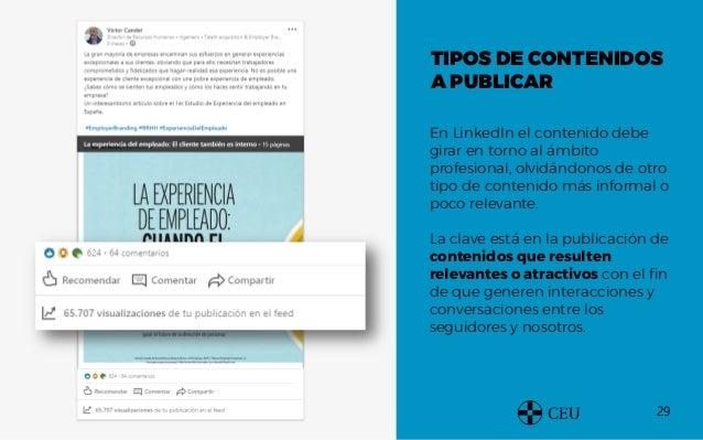 29 TIPOS DE CONTENIDOS A PUBLICAR En LinkedIn el contenido debe girar en torno al ámbito profesional, olvidándonos de otro...