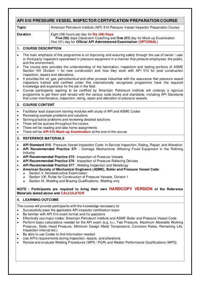 2015 api 510 pressure vessel inspector certification preparation cour rh slideshare net