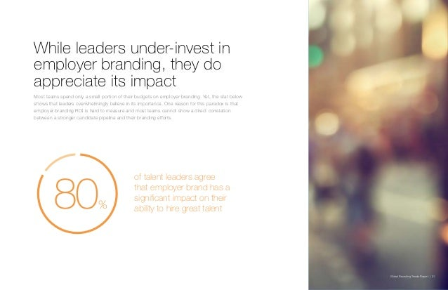 Global Recruiting Trends Report | 21 While leaders under-invest in employer branding, they do appreciate its impact Most t...