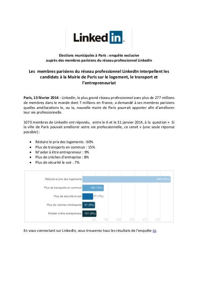 Elections municipales à Paris : enquête exclusive auprès des membres parisiens du réseau professionnel LinkedIn  Les membr...
