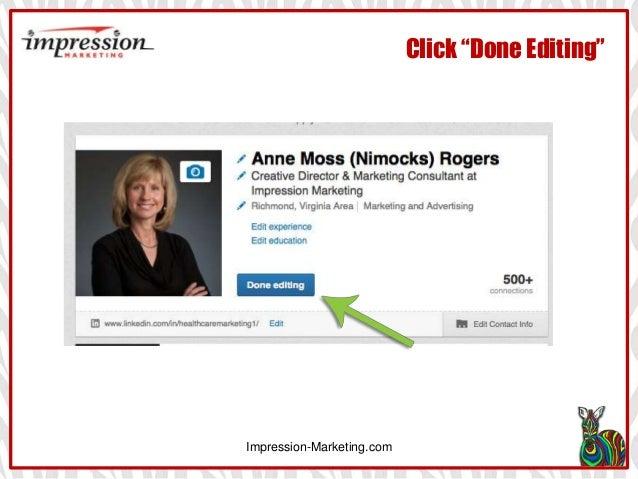 """Impression-Marketing.com Click """"Done Editing"""""""