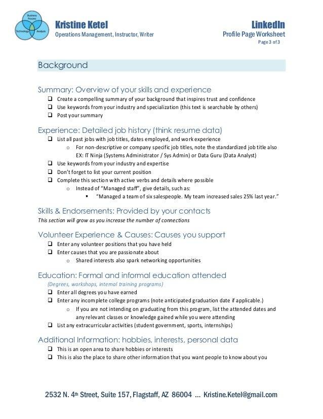 Linkedin Profile Setup Worksheet