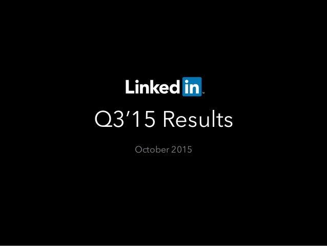 Q3'15 Results October 2015