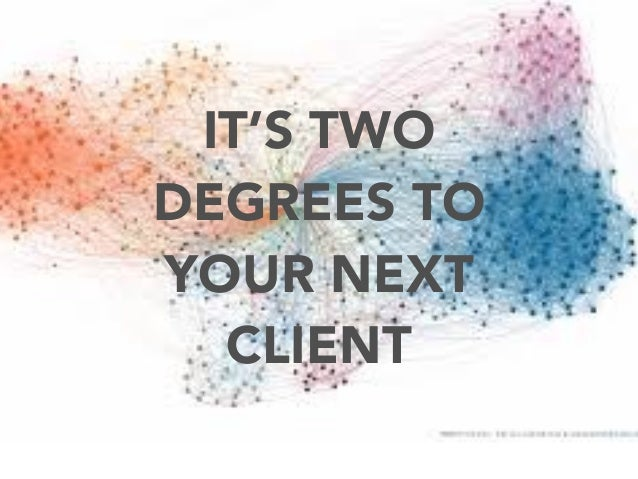 IT'S TWO DEGREES TO YOUR NEXT CLIENT