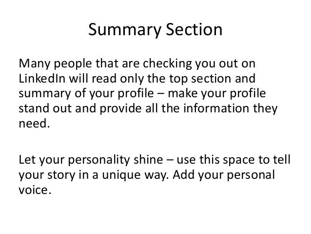 summary example one telling a story - Real Estate Profile Summary