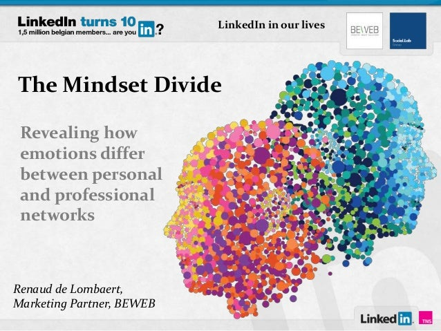 The Mindset Divide Revealing how emotions differ between personal and professional networks Renaud de Lombaert, Marketing ...