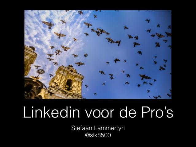 Linkedin voor de Pro's Stefaan Lammertyn @slk8500