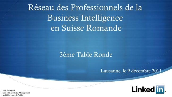 Réseau des Professionnels de la                              Business Intelligence                               en Suisse...