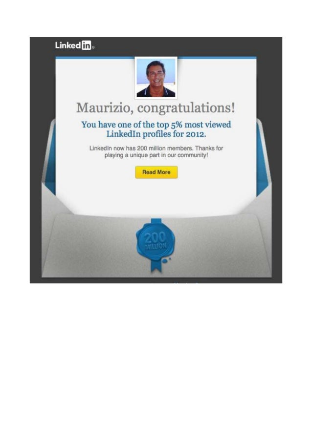 Maurizio Milazzo Linkedin Profile one of the Top 5%most viewed  in 2012