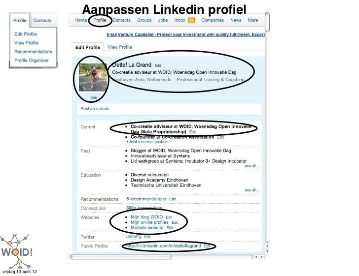Aanpassen Linkedin profielvrijdag 13 april 12
