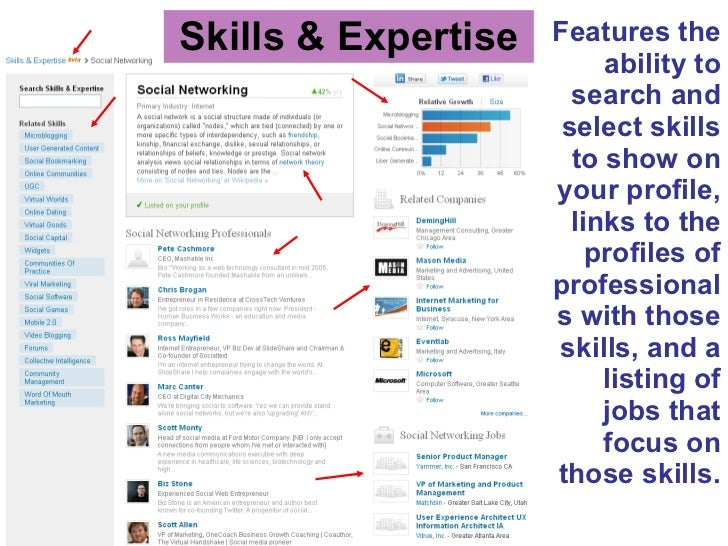 Skills & Expertise <ul><li>Features the ability to search and select skills to show on your profile, links to the profiles...