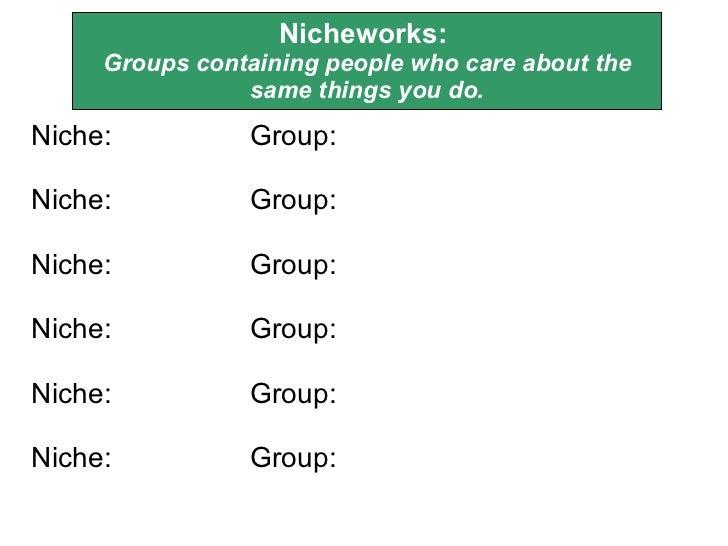 Nicheworks:  Groups containing people who care about the same things you do. <ul><li>Niche:  Group: </li></ul><ul><li>Nich...