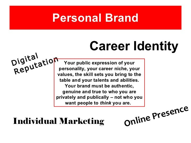 Personal Brand Career Identity Digital Reputation Your public expression of your personality, your career niche, your valu...
