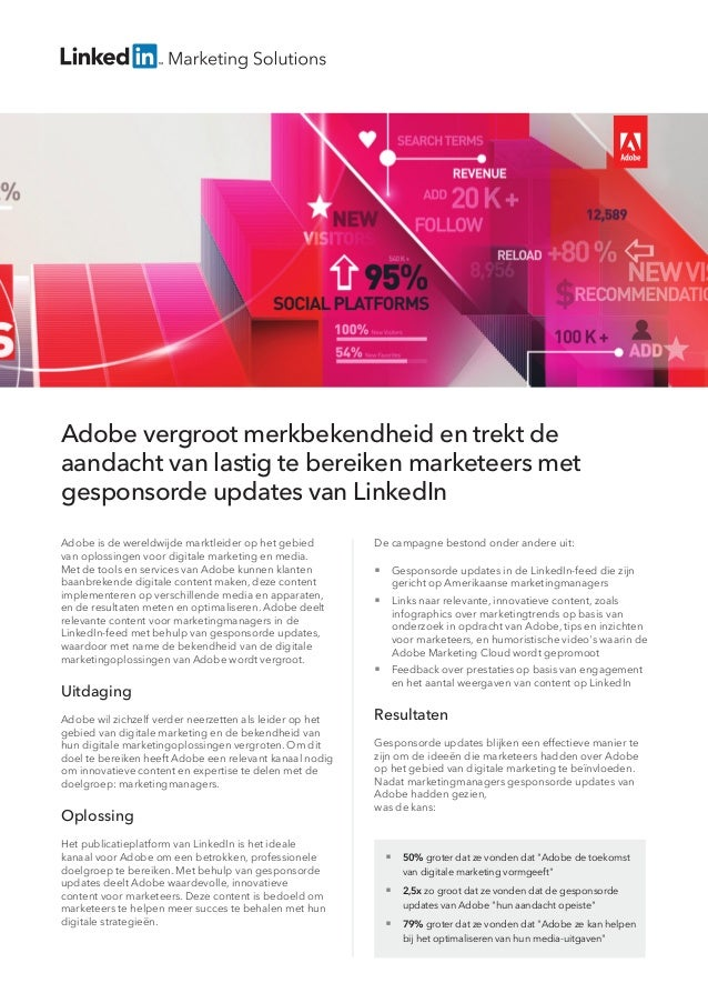 Adobe vergroot merkbekendheid en trekt de aandacht van lastig te bereiken marketeers met gesponsorde updates van LinkedIn ...