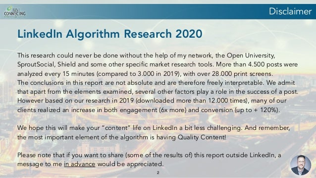 LinkedIn Algorithm Research 2020 by Just Connecting Slide 2