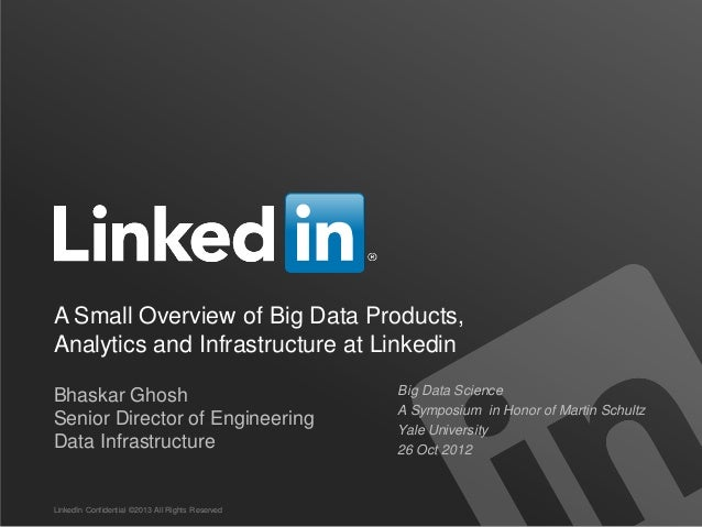 A Small Overview of Big Data Products,Analytics and Infrastructure at LinkedinBhaskar Ghosh                               ...