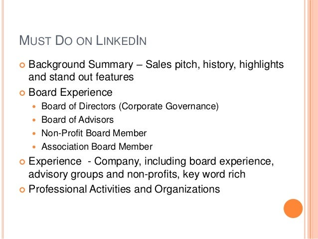 • Great profile for an active, desirable board member that cares  about company association and put effort into detailing ...