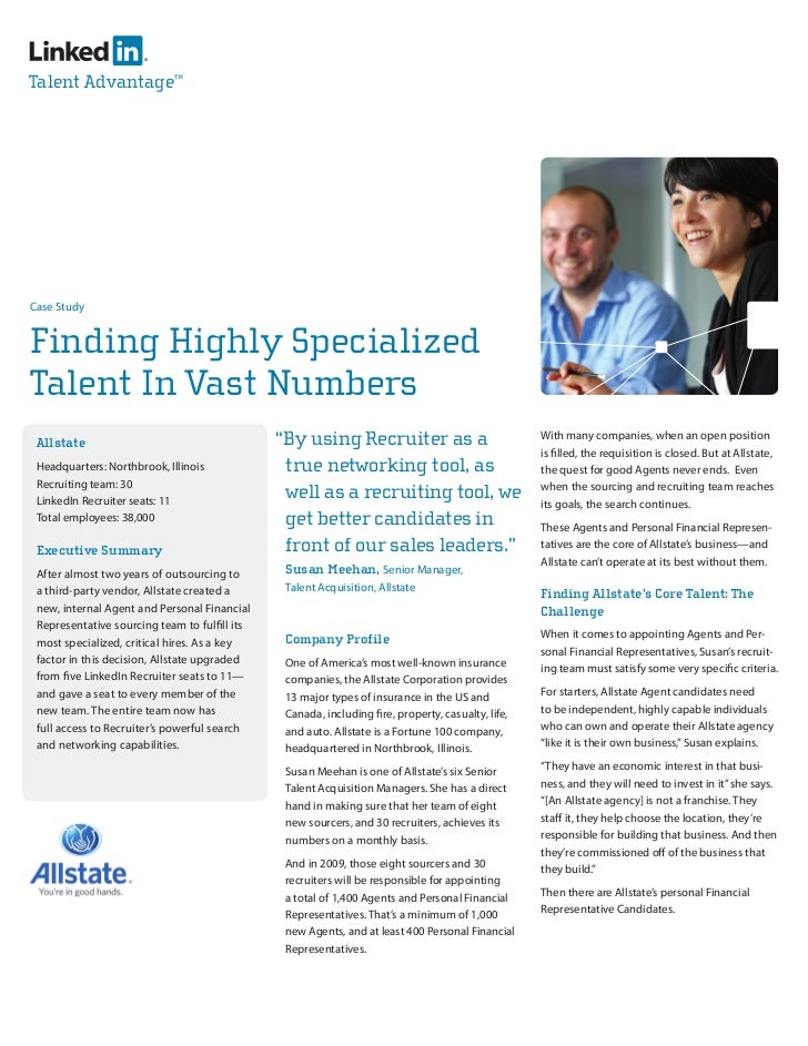 Talent Advantage™     Case Study   Finding Highly Specialized Talent In Vast Numbers  Allstate                            ...