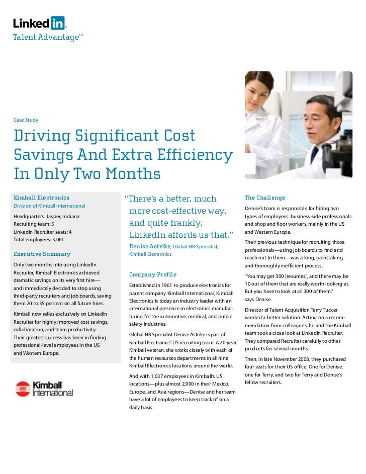 Talent Advantage™     Case Study   Driving Significant Cost Savings And Extra Efficiency In Only Two Months Kimball Electr...
