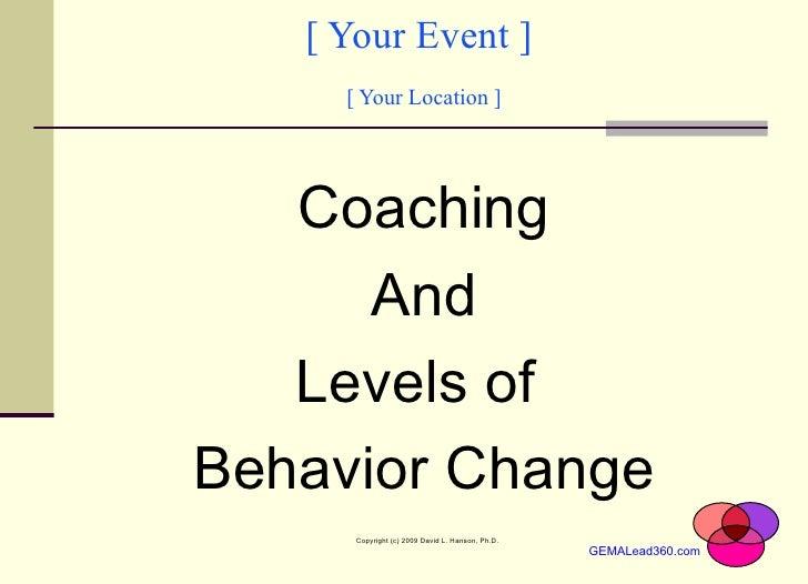 [ Your Event ]  [ Your Location ] <ul><li>Coaching </li></ul><ul><li>And </li></ul><ul><li>Levels of  </li></ul><ul><li>Be...