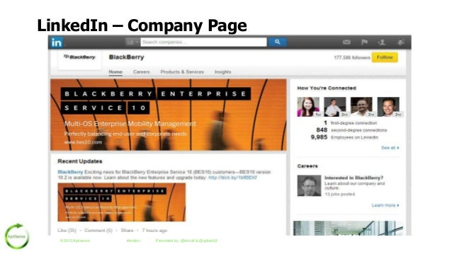 LinkedIn – Company Page  © 2013 Aptisense  #wrsbrc  Presented by: @krcraft & @gdiver62