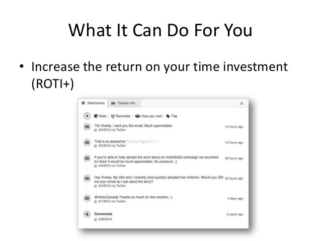 What It Can Do For You• Increase the return on your time investment(ROTI+)