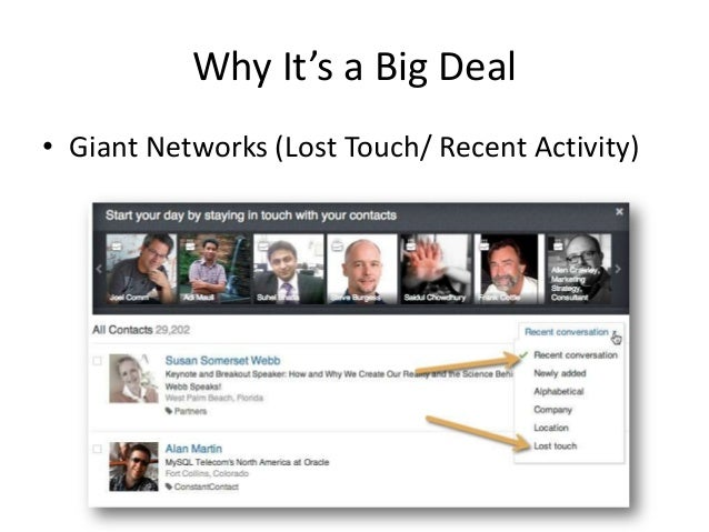 Why It's a Big Deal• Giant Networks (Lost Touch/ Recent Activity)