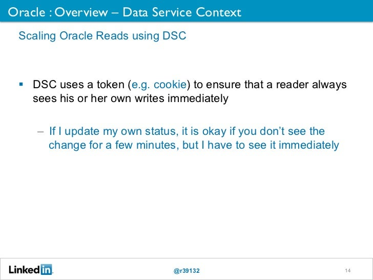 Oracle : Overview – Data Service Context	 Scaling Oracle Reads using DSC   DSC uses a token (e.g. cookie) to ensure that ...