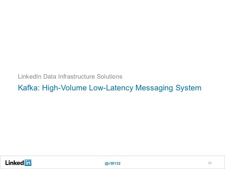 LinkedIn Data Infrastructure SolutionsKafka: High-Volume Low-Latency Messaging System                               @r3913...