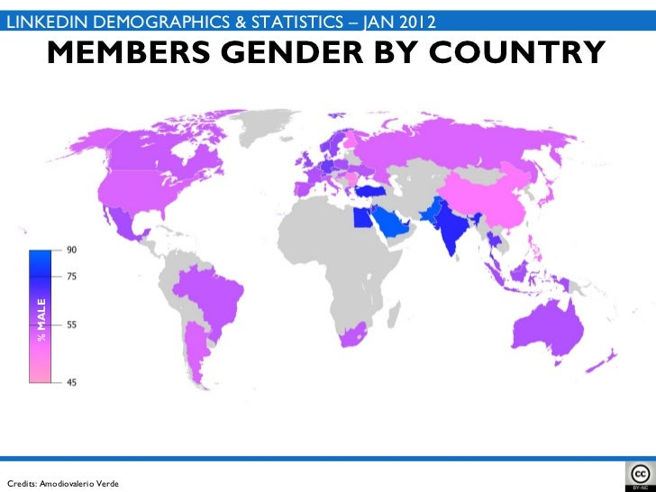 MEMBERS GENDER BY COUNTRY LINKEDIN DEMOGRAPHICS & STATISTICS – JAN 2012 Credits: Amodiovalerio Verde % MALE