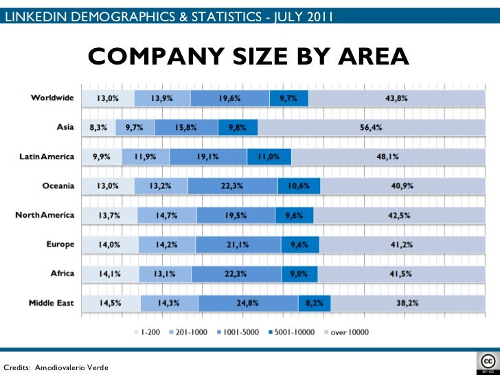 COMPANY SIZE BY AREA Credits:  Amodiovalerio Verde LINKEDIN DEMOGRAPHICS & STATISTICS - JULY 2011