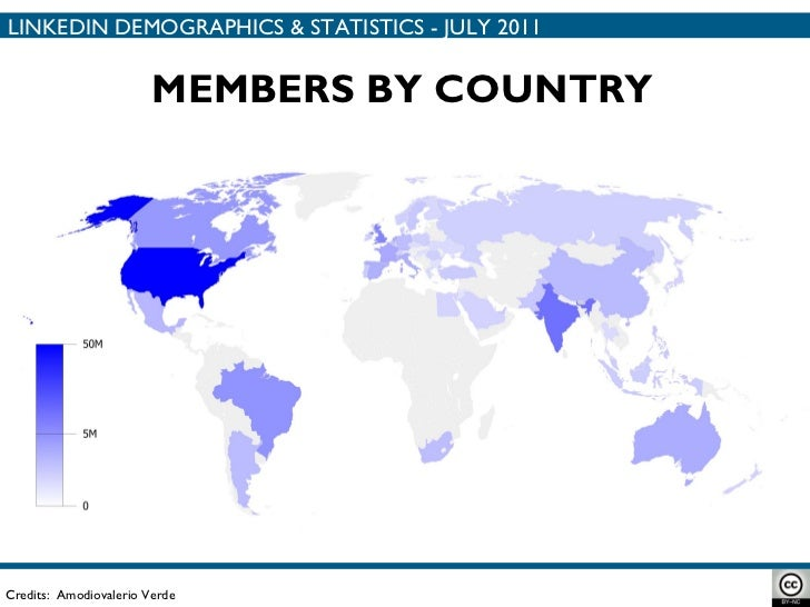 MEMBERS BY COUNTRY Credits:  Amodiovalerio Verde LINKEDIN DEMOGRAPHICS & STATISTICS - JULY 2011