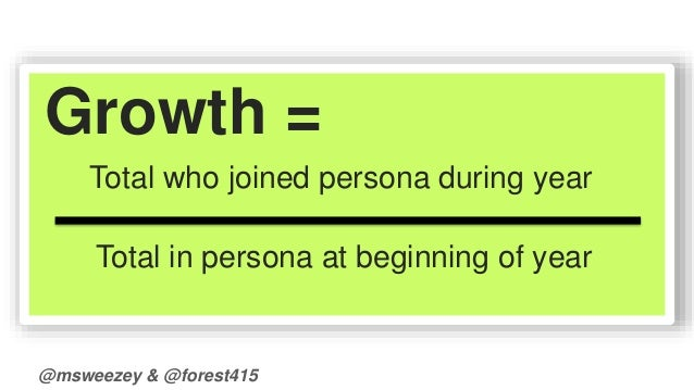 Growth =  Total who joined persona during year  Total in persona at beginning of year  @msweezey & @forest415