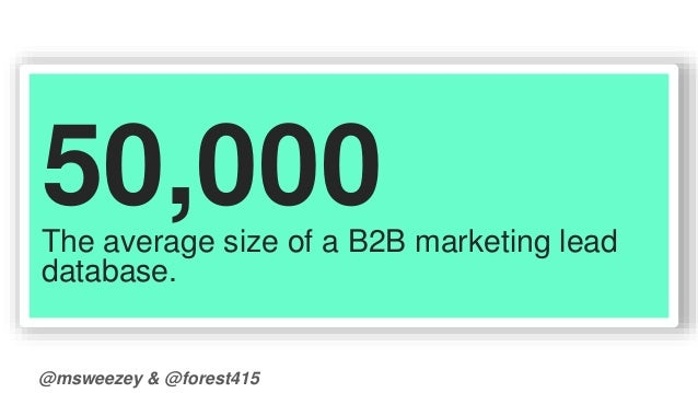50,000  The average size of a B2B marketing lead  database.  @msweezey & @forest415