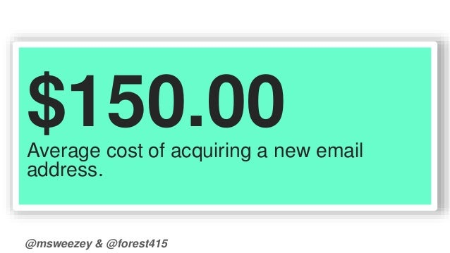 $150.00  Average cost of acquiring a new email  address.  @msweezey & @forest415