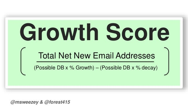 Growth Score  Total Net New Email Addresses  (Possible DB x % Growth) – (Possible DB x % decay)  @msweezey & @forest415