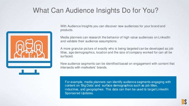 What Can Audience Insights Do for You? For example, media planners can identify audience segments engaging with content on...