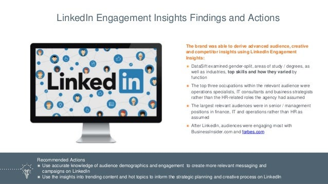 The brand was able to derive advanced audience, creative and competitor insights using LinkedIn Engagement Insights: ๏ Dat...