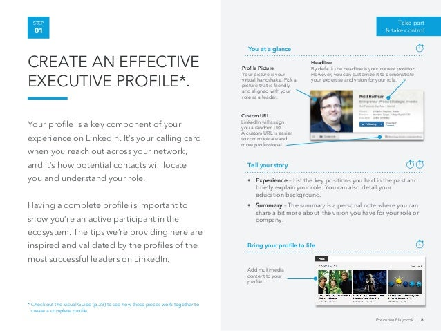 linkedin executive playbook • a linkedin profile has more than just the contact information of a business card inviting people to connect is a great way to follow up on an in-person meeting • several apps can help you connect faster and on the spot, such as linkedin contacts checking people's profile prior to meeting is becoming a commodity.