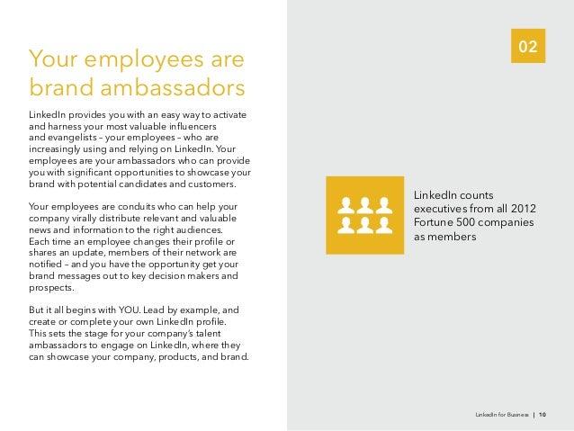 02LinkedIn countsFortune 500 companiesas membersYour employees arebrand ambassadorsincreasingly using and relying on Linke...