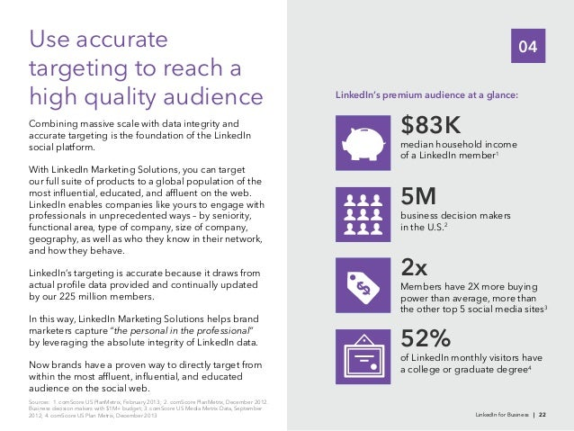 04targeting to reach ahigh quality audienceaccurate targeting is the foundation of the LinkedInsocial platform.With Linked...