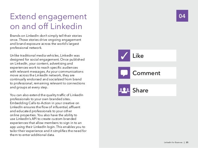 04Extend engagementon and off LinkedinBrands on LinkedIn don't simply tell their storiesand brand exposure across the worl...