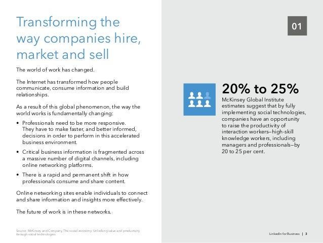 01Transforming theway companies hire,market and sellThe world of work has changed.The Internet has transformed how peoplec...